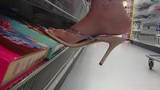 Trampling A Book Under Her Heels In A Store | Punjabi Goddess
