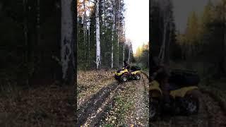 Квадроцикл объезжает препятствие!