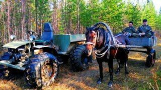 На каракате 31 километр по бездорожью. Еду домой. Встретил рыбаков на лошадке.