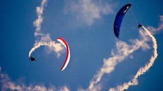 Полет на параплане - Трюки и Падение на параплане, парапланеризм при сильном ветре.