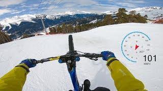 100 км/ч на велосипеде по снегу